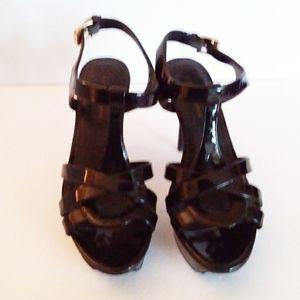 BCBGeneration Black Patten Leather T-Strap Heels